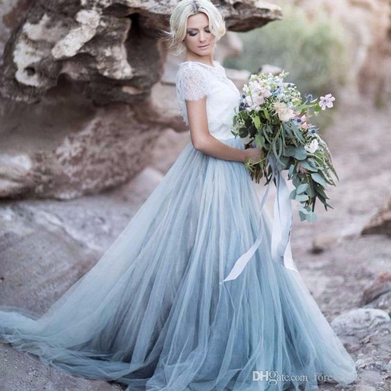 Country Style Wedding Dress Vintage Colorful Pale Blue A Line Hollow ...