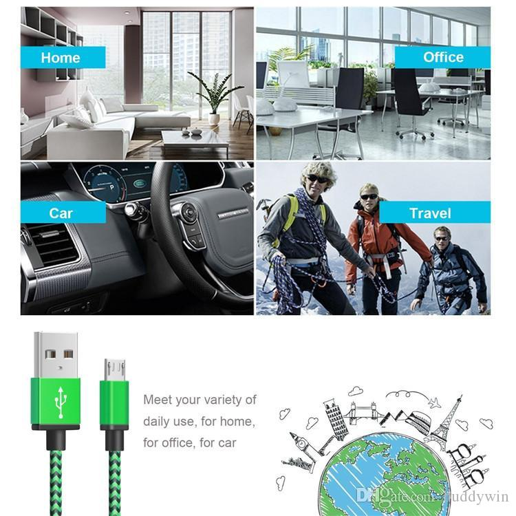 Type C Cable Nylon Braided Charging Micro USB Charger Cord Cable for Andriod Smart Phone Samsung galaxy S7 edge S6 S4