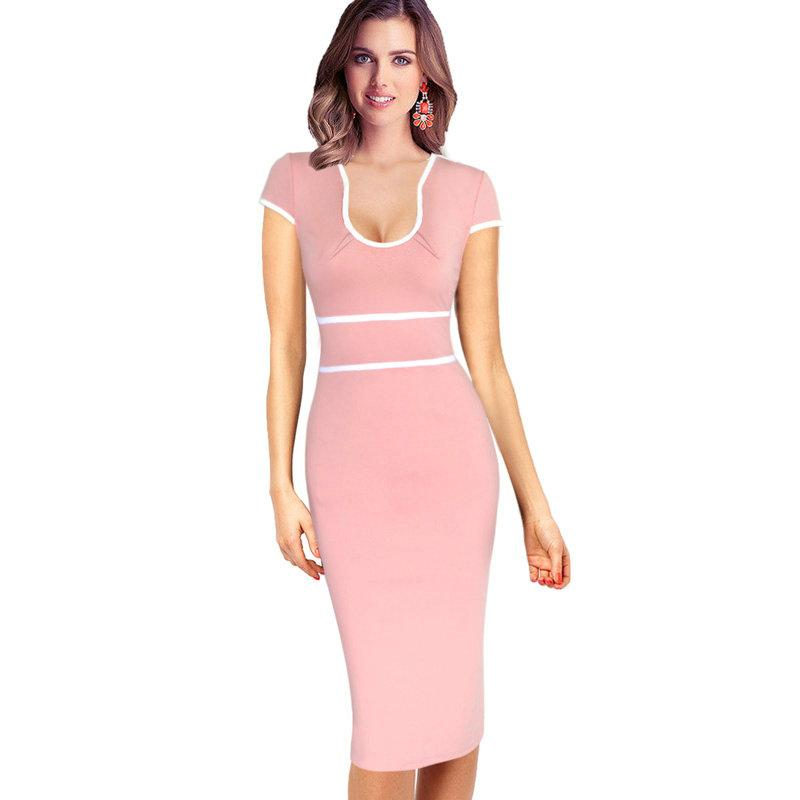 89b8fa5510bbc New Fashion Womens Celebrity Sexy Elegant Contrast High Waist Vintage Pinup  Tunic Slim Work Business Casual Party Bodycon Dress