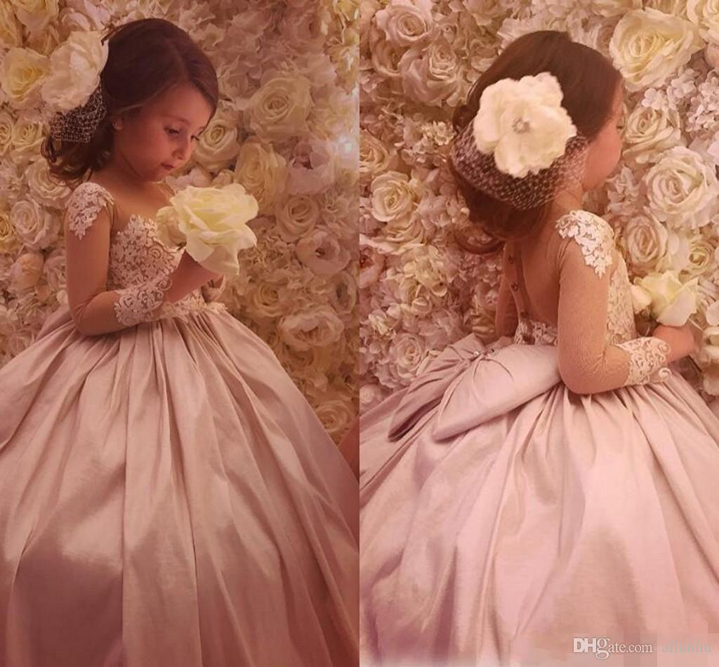 2017 Lovely Cheap Flower Girl's Dresses Sheer Neck Ball Gown Satin Baby Girl Birthday Party Pageant Dresses Girl's Pageant Gowns