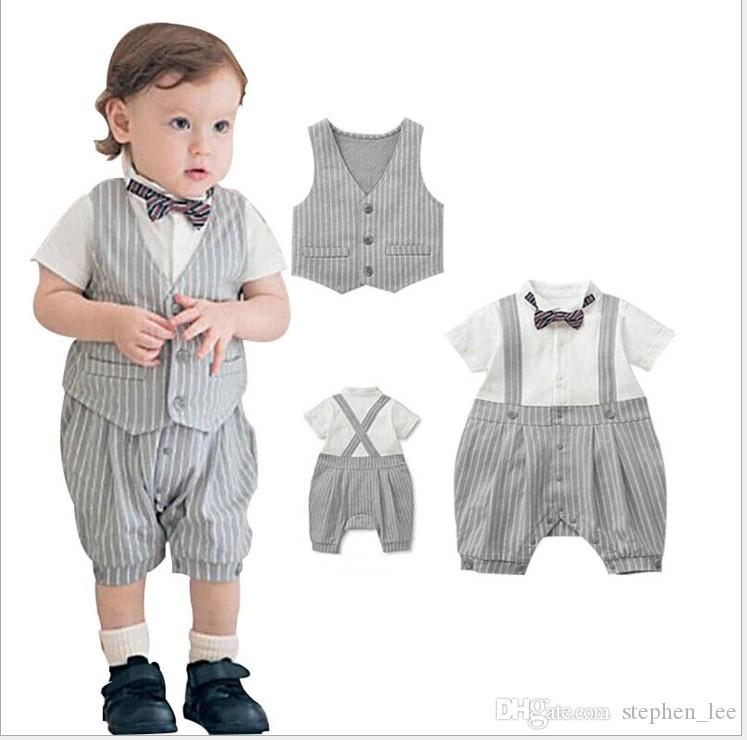 62a5064e45a64 2019 Gentleman Style Baby Boys Rompers Sets Summer Infant Boy Striped Short  Sleeve Romper+Vest+Bowtie Set Kids Jumpsuits Toddler Suits From  Stephen_lee, ...