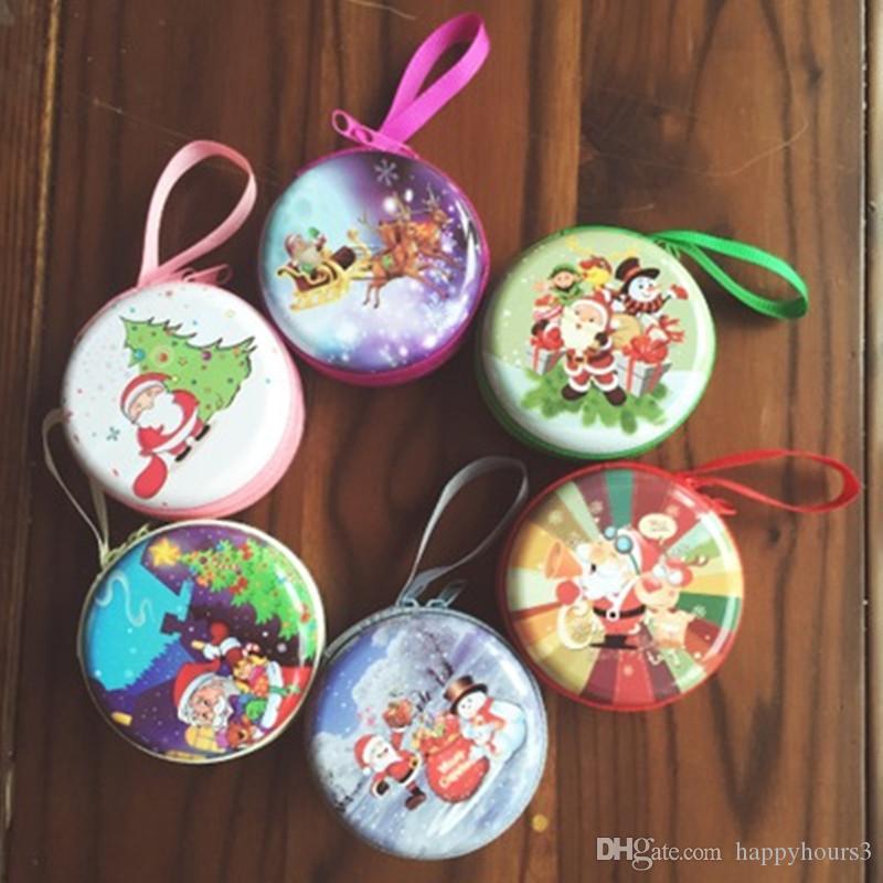 Mini auricolare rotondo sveglio di Natale Zipper borsa della moneta chiave Portafoglio regalo del sacchetto della moneta del pacchetto di Natale, supporti di favore di Natale