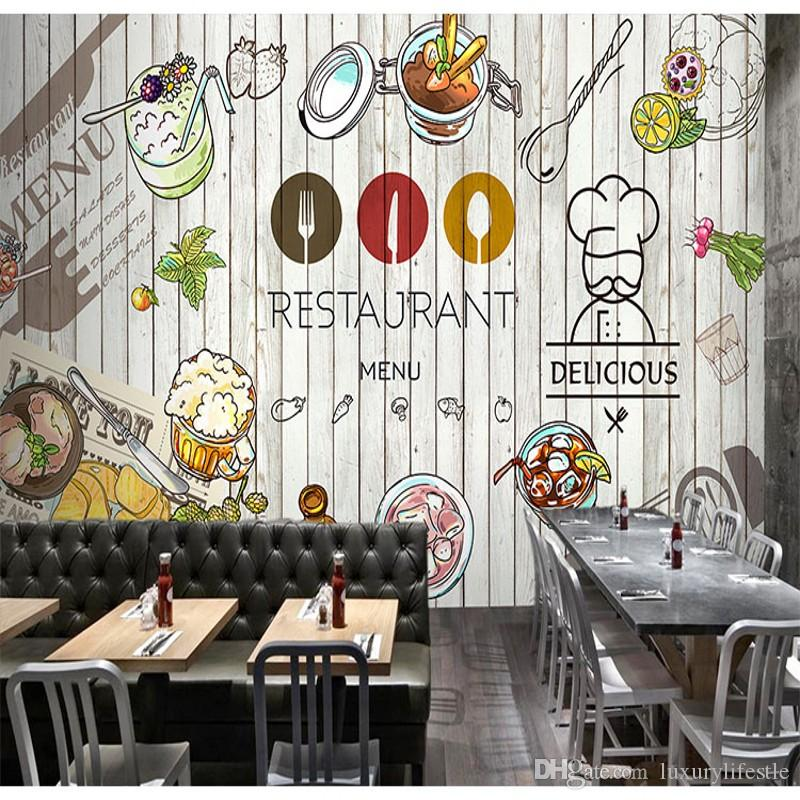 3d stereo custom graffiti mural delicacy leisure tea shop for Cafe mural wallpaper