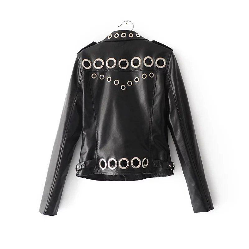 Dames Moto PU Vestes En Cuir Femmes Faux Cuir Manteaux À Manches Longues Zipper Printemps Automne Pardessus Nouvelle Mode Noir Bleu Rose