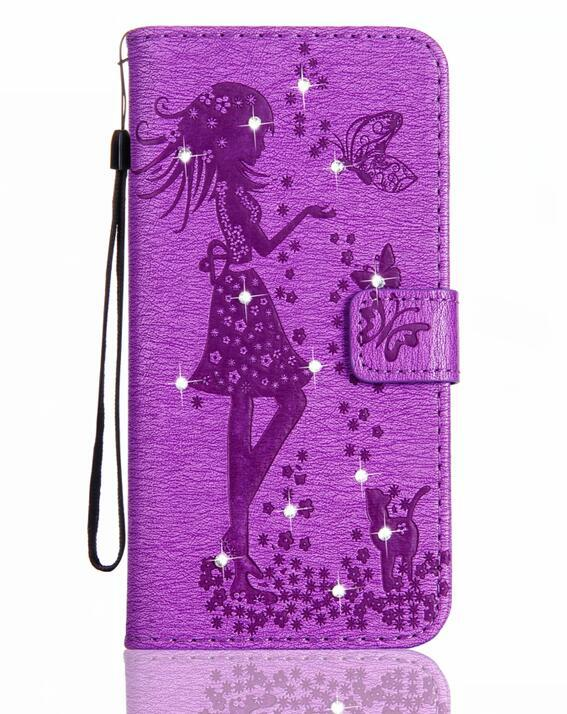 Bling Diamond Butterfly Girl Wallet Leather For Iphone 8 7 Plus 6 6S SE 5 5S Case Rhinestone Stylish Floral Flower Flip Cover Skin+Strap