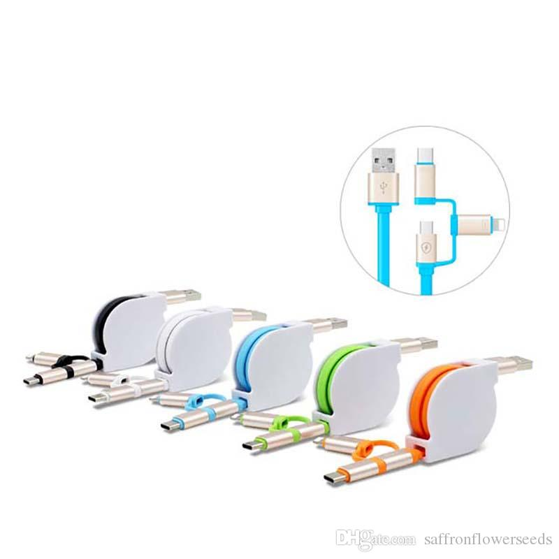 Multible Cable with USB-C Connector USB 3.1 Type C Retractable 3 in 1 Micro USB Charging Cord for Samsung Xiaomi 4c HUAWEI