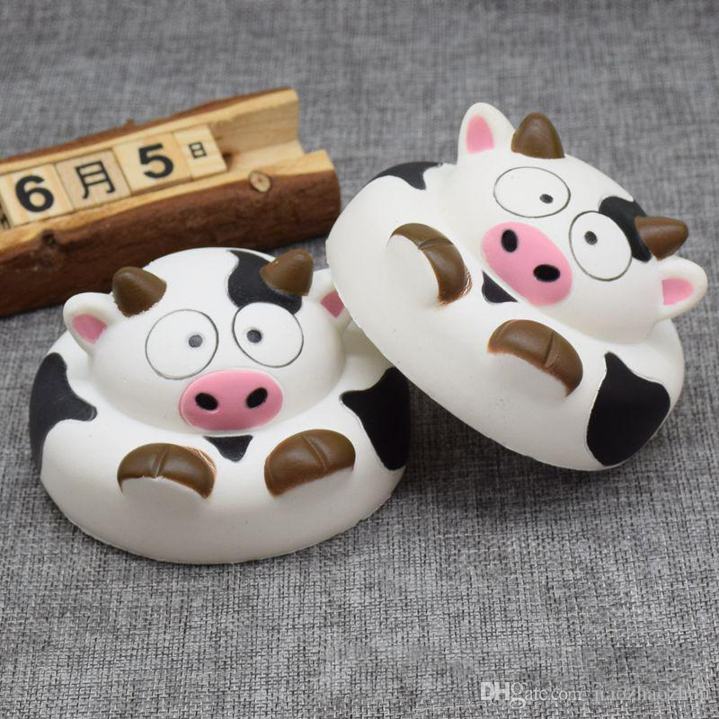 New Kawaii 10CM Jumbo Donuts Cow Squishy Slow Rising Phone Straps Soft Squeeze Bread Charms Scented Kid Toy Gift