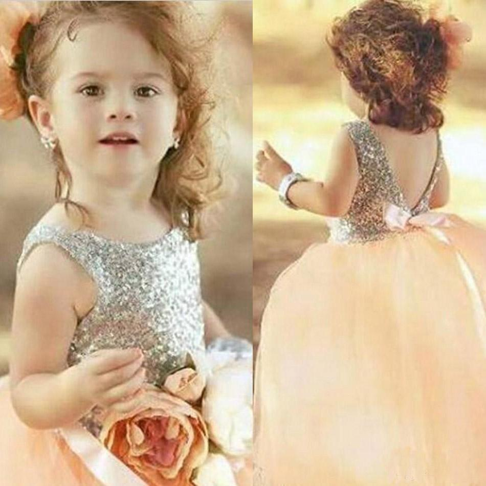 Pink flower girl dresses for wedding silver sequin holy first see larger image mightylinksfo