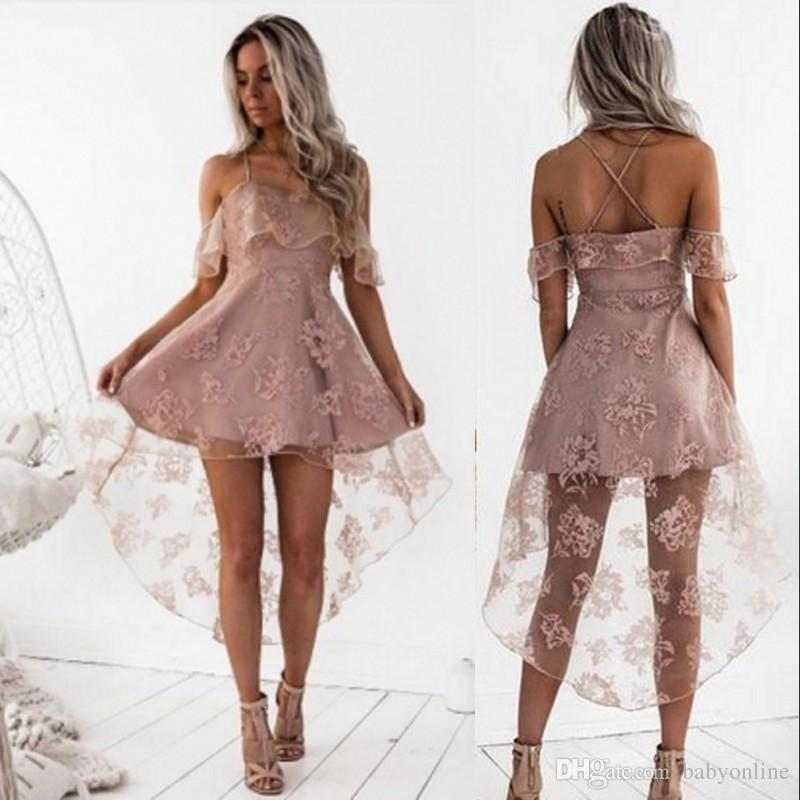 e2d852ba5a Cute Pale Pink Short Homecoming Dresses High Low Lace A Line Spaghetti  Straps Backless Prom Arabic Gowns Cocktail Dress Dresses Long Lace  Homecoming Dresses ...