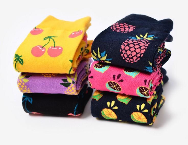 2017 ٪ الجاكار الفاكهة الجوارب النساء أزياء لطيف الأناناس الكرز الليمون الغذاء الجوارب تصميم جديد جميل الجوارب الجدة