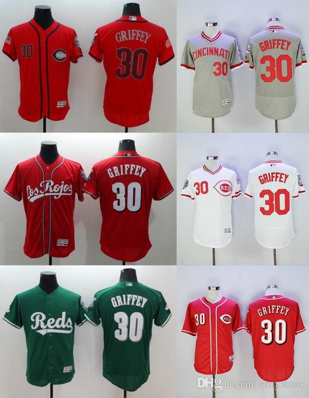 Acquista Baseball Cincinnati Reds # 30 Ken Griffey Jr. Jersey Di Ritorno Al  Passato Del Pullover Flexbase Freddo Spedizione Base Pullover Bianco Grigio  ...