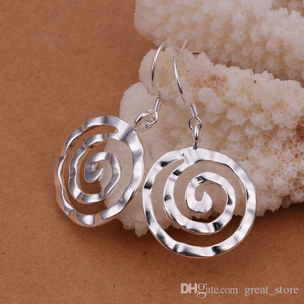 hot sale Round thread sterling silver plate earrings GE353,women's 925 silver Dangle Chandelier earrings