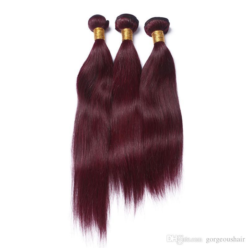 3 шт./лот бразильский человеческих волос расширения прямо красное вино цвет волос ткет бордовый дешевые пучки 99J человеческих волос ткачество