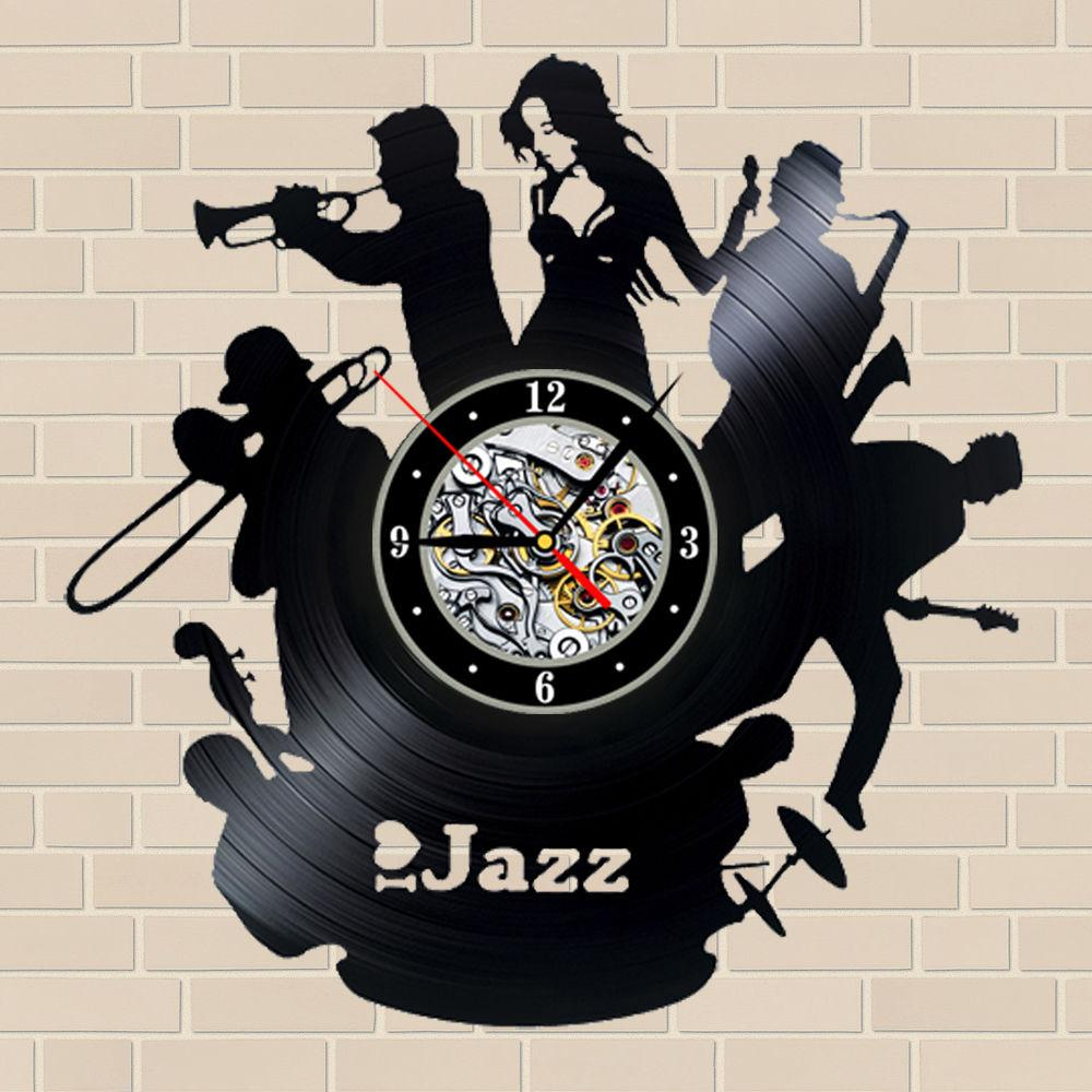 I Love Jazz Vinyl Wall Clock Christmas Gift For Friend Furniture  # Meubles Metal Occasion