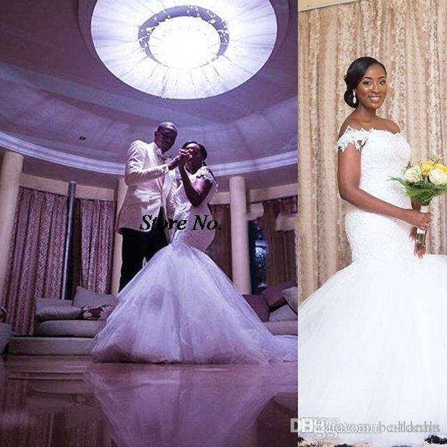 Vestidos de boda 2017 de la nueva sirena africana nigeriana del hombro apliques del cordón tren de la capilla sin respaldo vestidos de boda de la boda