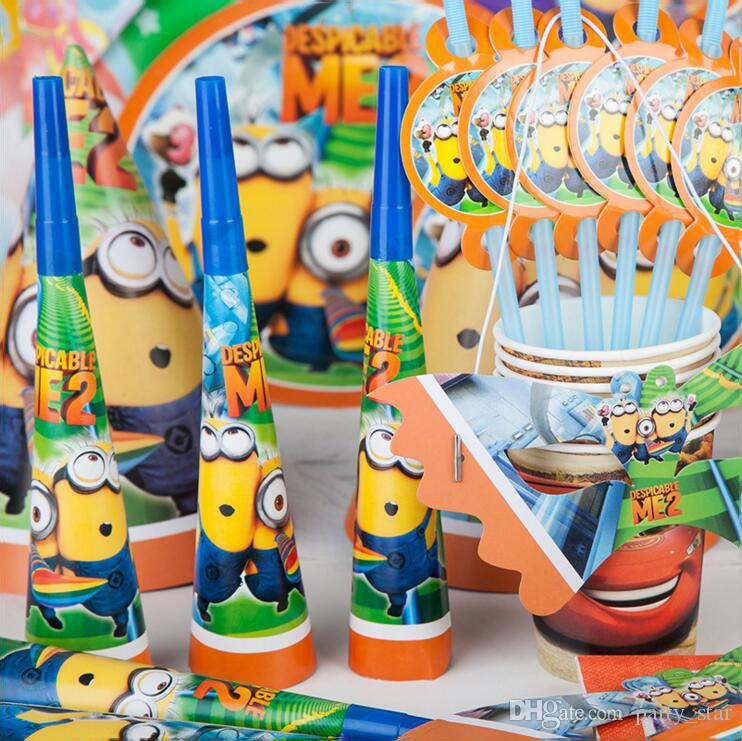 Children Birthday Party Minions Series Supplies Kids Flag Mask Blowout Cap Decoration Props Cartoon Set Holiday Decorations Hollywood