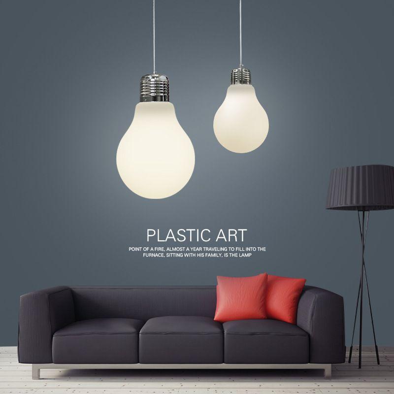 Big Bulb Light Simple Pendent Lights Bulb Pendant Light Dia 15/25/30cm Pendent Lamp Gold/Silver/Milk White Color E27 Bulb Indoor