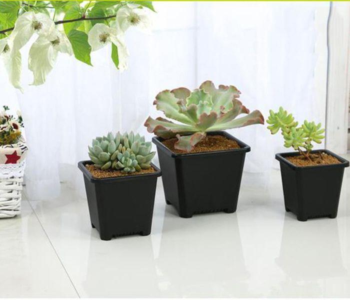 2019 Wholesale Black Square Nursery Garden Succulent Pots For Indoor