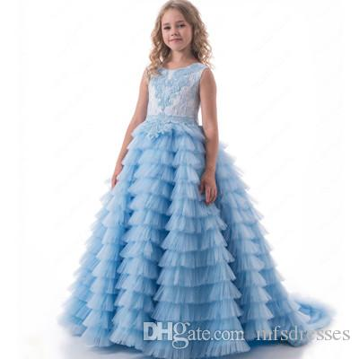 Sky Blue Luxury Little Girls Pageant Dresses Ball Gown Tiered Puffy Tulle  Princess Flower Girl Dresses Kids Prom Evening Gowns Newborn Flower Girl  Dresses ... 0adc36b19113