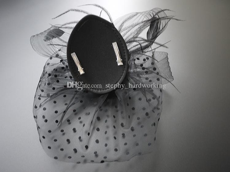Großhandel - Hochzeit Brautjungfer Braut Frauen Cocktail Party Fascinator Hut, handgemachte Rose Polo Haarschmuck mit Schleier Schwarz
