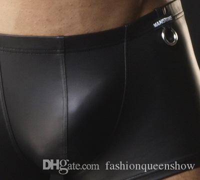 High Quality Faux Leather Underwear Men Sexy Boxer Shorts Cool Low Rise Underpants Briefs Black Tight Shorts