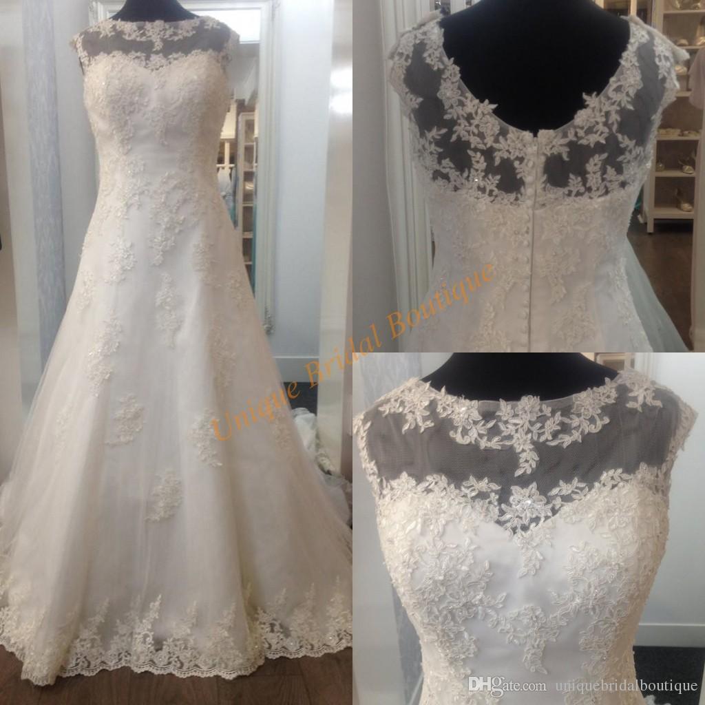 Großhandel Romantische Brautkleider 2017 Designer Günstige Mit Sheer ...