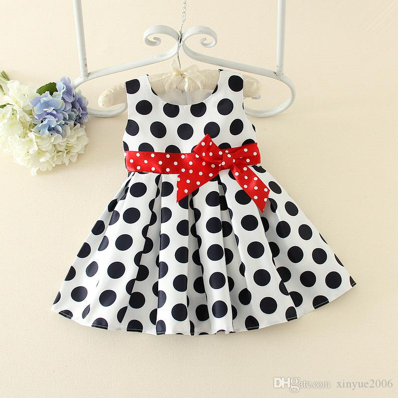 2018 1 To 3 Years Old Baby Girls Dress Black Dot Red Bow Infant
