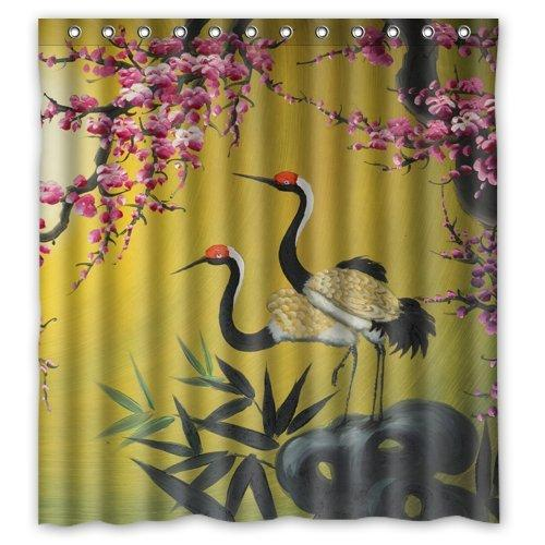 2018 66Width X 72Height Chinese Style Crane Bird And Peach Blossoms Bathroom  Decor Polyester Waterproof Shower Curtain From Littemanthree, $25.13 |  Dhgate.