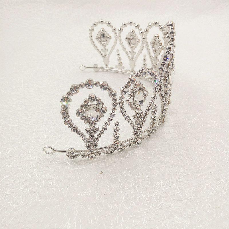 New Design Royal Bridal Crown Glass Crystal Rhinestone Princess Beauty Hair Accessories High Quality Headpiece Headdress Factory Direct Sale