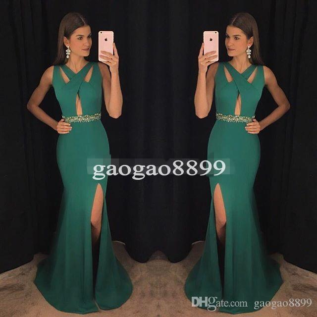 Modern Green V-Neck Prom Dresses 2017 Spandex Mermaid Special Occasion Gowns High Split Formal Evening Dress for Party Celebrity Wear