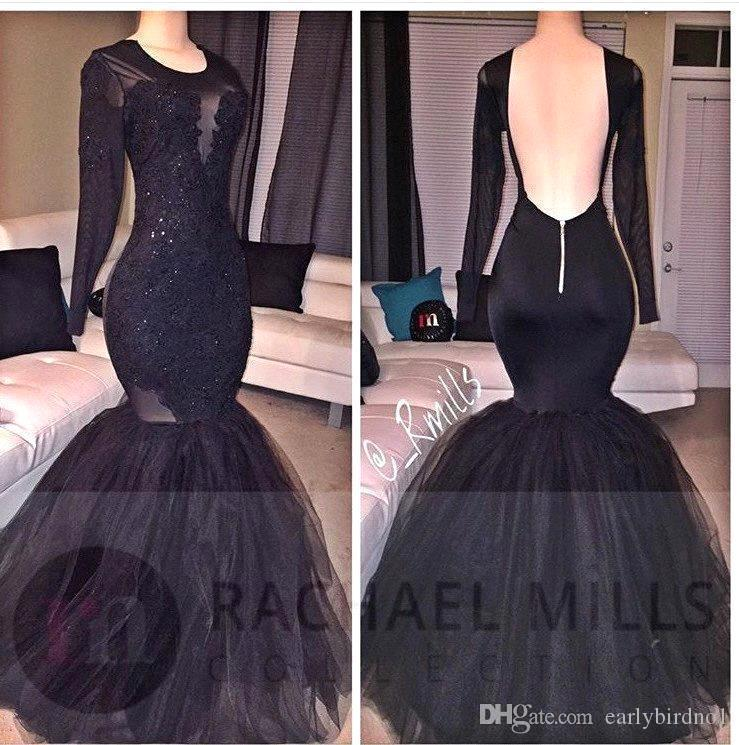 Sexy Black Mermaid Prom Dresses 2017 Sheer Jewel Neck with Vintage Lace Court Train Evening Wear Backless Pageant Celebrity Gowns BA4979