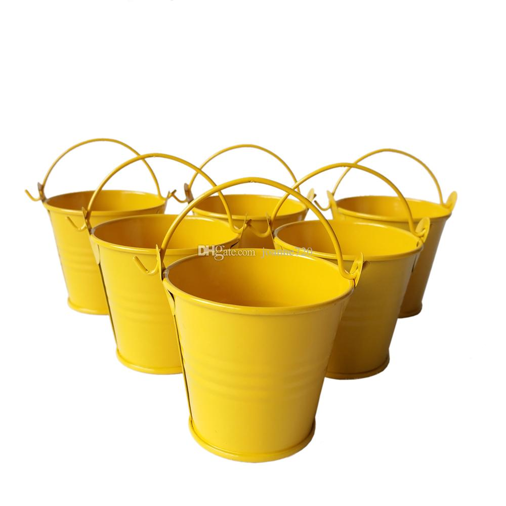 Wholesale yellow Mini Buckets tin pots cute mini pail Wedding Buckets Small Pails Mini Succulent Planters