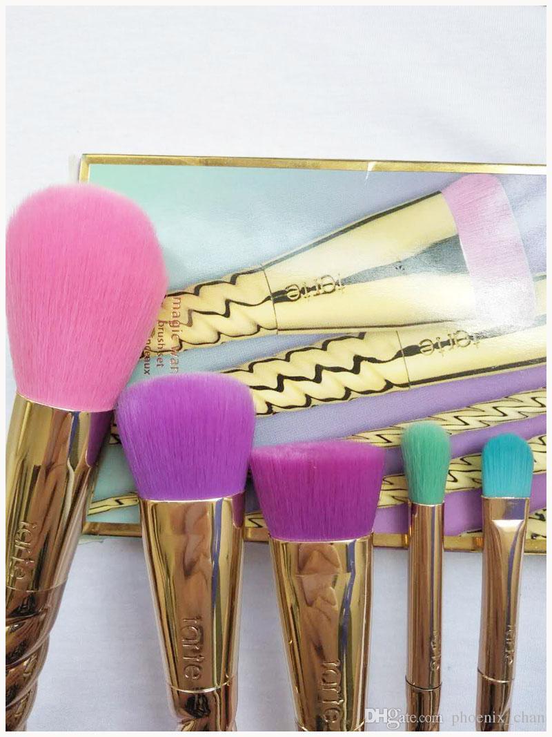 Макияж кисти наборы косметика кисти 5 яркий цвет розовое золото спираль хвостовик макияж кисти единорог винт макияж инструменты Бесплатная доставка