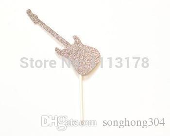 Glitter Rockstar Guitar Cupcake Toppers Bachelorette Wedding Bridal