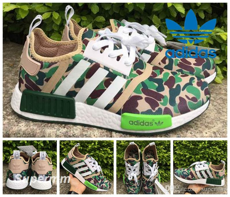13b1caafc0695 Bape X Adidas NMD Runner R1 Green Camo Triple Black White Red October Men  Women Running Shoes Originals Fashion NMD Runner Athletic Shoes Bape Adidas  NMD ...