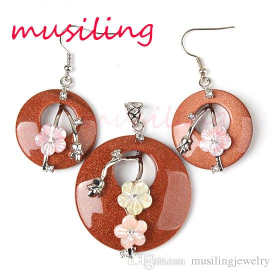 Schmuck Sets Halskette Anhänger Ohrringe natürlichen Edelstein Clip Blumen Schmuck Set Zubehör Mode Charms Amulett Schmuck für Frauen