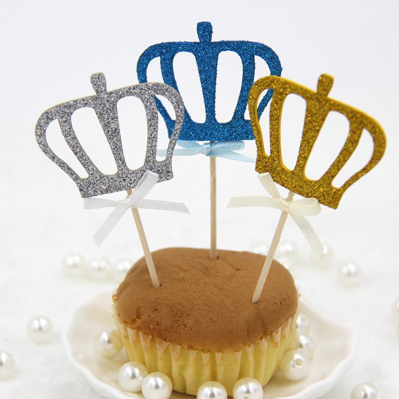 Wholesale- Cupcake Topper!12PCS 3Colors Shiny Crown Cake Topper Picks For Wedding/Kids Birthday/Cake Baking Party Decoration