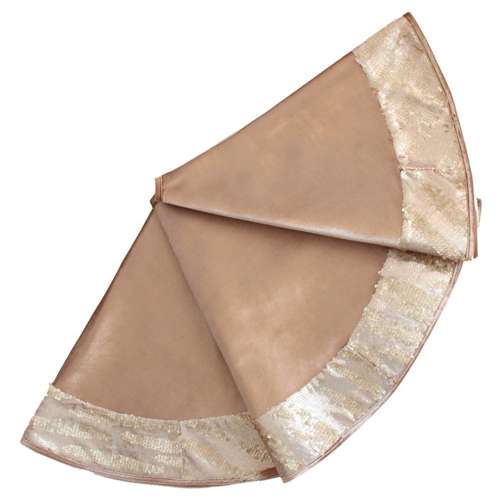 Wholesale Free Shipping 36 42 50 Christmas Tree Skirt Gold Velvet Body With Sequin Glitter Sparkle Luxury Border P4716