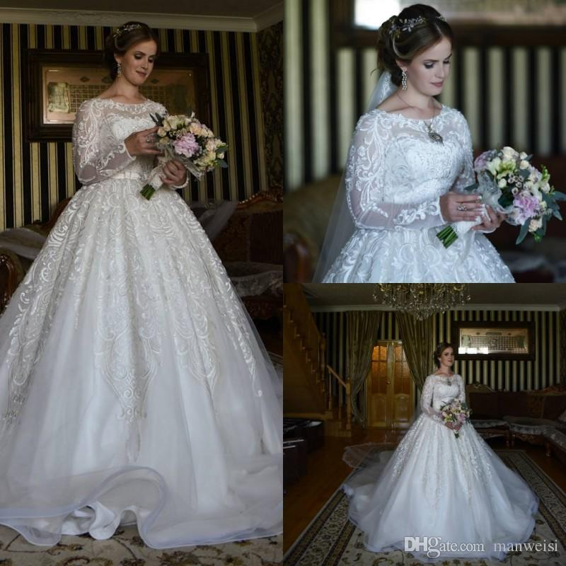 Modest Lace Ball Gown Wedding Dresses Long Sleeve Lace Appliqued Bridal  Gowns Elegant Counrty Saudi Arabic Plus Size Wedding Dress Muslim Wedding  Dresses ... 9978d8f459d1