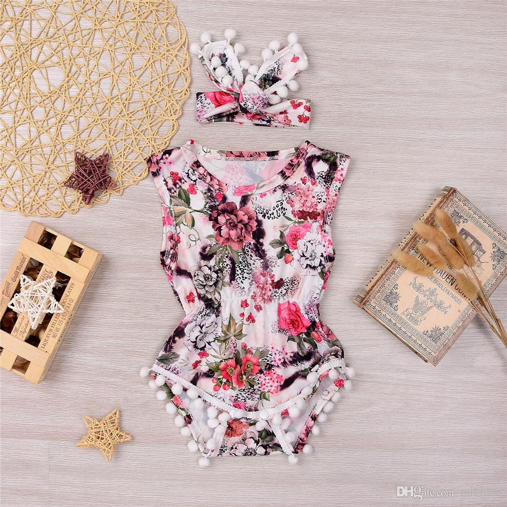 2d1514a311694 Mikrdoo 2017 Summer Newborn Rompers Infant Baby Girl Floral Romper Flower  Tassel Jumpsuit Headband 2Pcs Outfit Cotton Top Clothes Wholesale
