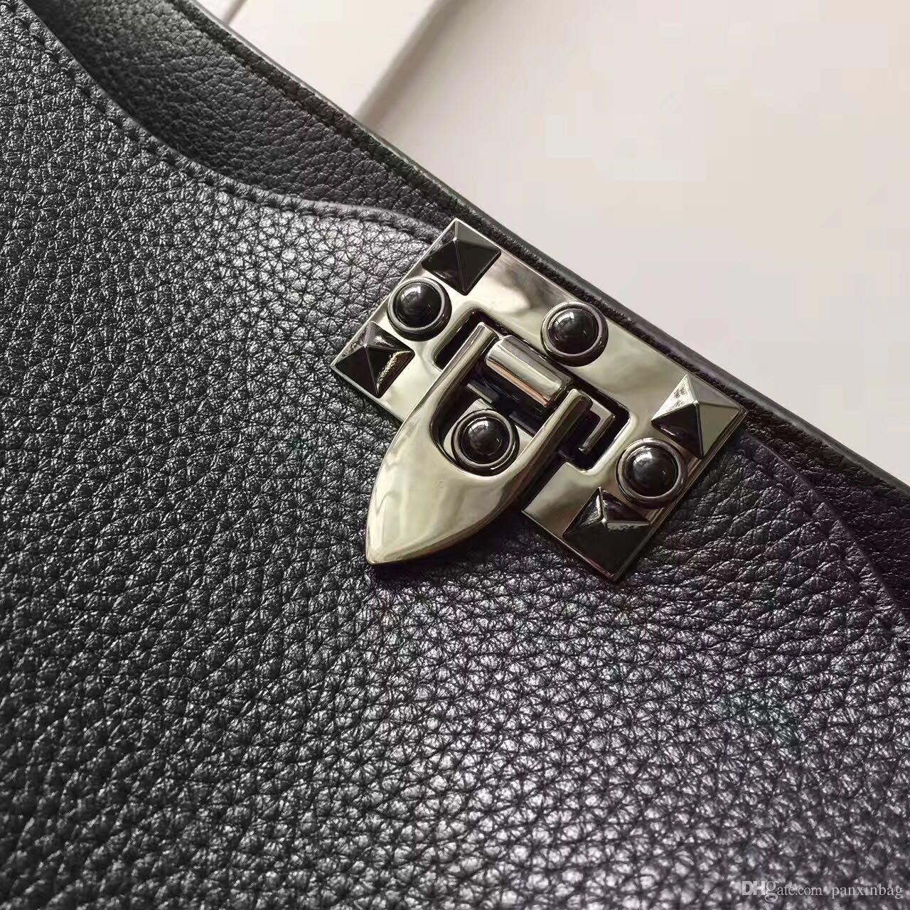 2017 yeni stil siyah perçin tırnak moda lüks deri custom made high-end kadın omuz çantaları marka tasarımcı narin düz küçük çanta