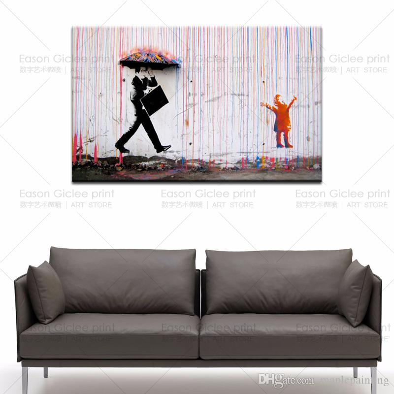 Banksy street art Colorful Rain canvas painting wall picture for home decoration large canvas prints canvas art paintings