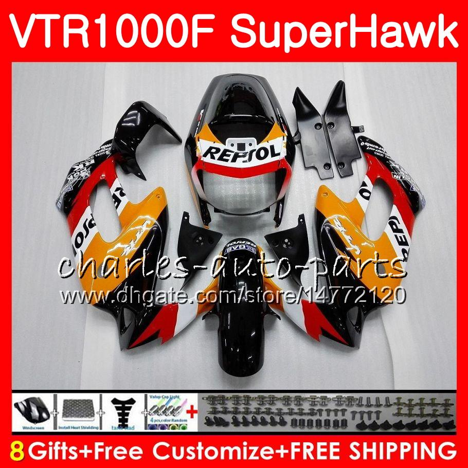 Corpo para Honda VTR1000F Superhawk 97 98 99 00 01 02 03 04 05 91HM1 VTR 1000F 1997 1998 1999 2000 2002 2003 2005 2005 Fairing Repsol Orange