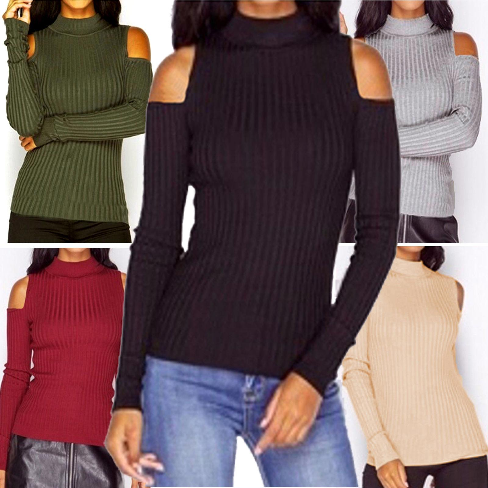 1201a63ff7e048 2019 Casual Womens Ladies Cold Shoulder Cable Chunky Knitted Sweatshirt Ribbed  Pullover High Turtle Neck Long Sleeve Jumper Tops Knitwear From Erinzhang