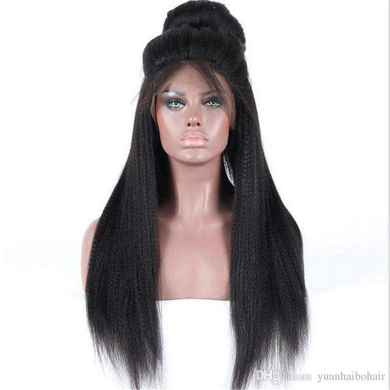 Hot sale 1b heavy yaki straight peruvian virgin hair ponytail lace front human hair wigs free shipping