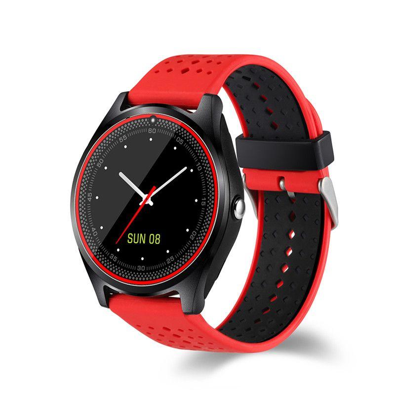 الأزياء SIM ساعة ذكية الهاتف ساعة رقمية V9 للرجال والنساء بلوتوث إلكترونيات ساعة ذكية كاميرا لالروبوت أجهزة يمكن ارتداؤها الهاتف