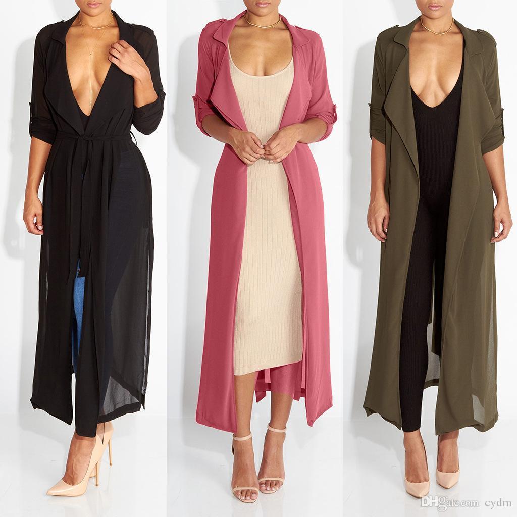 2019 Europe United States fashion hot pure color cardigan lapel long cuff belt long section chiffon shirt coat,Support mixed batch