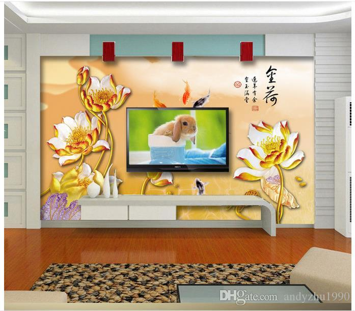 3D wallpaper custom wall murals wallpaper Setting wall decoration gourmet gold lotus brocade carp aestheticism living room wall decor