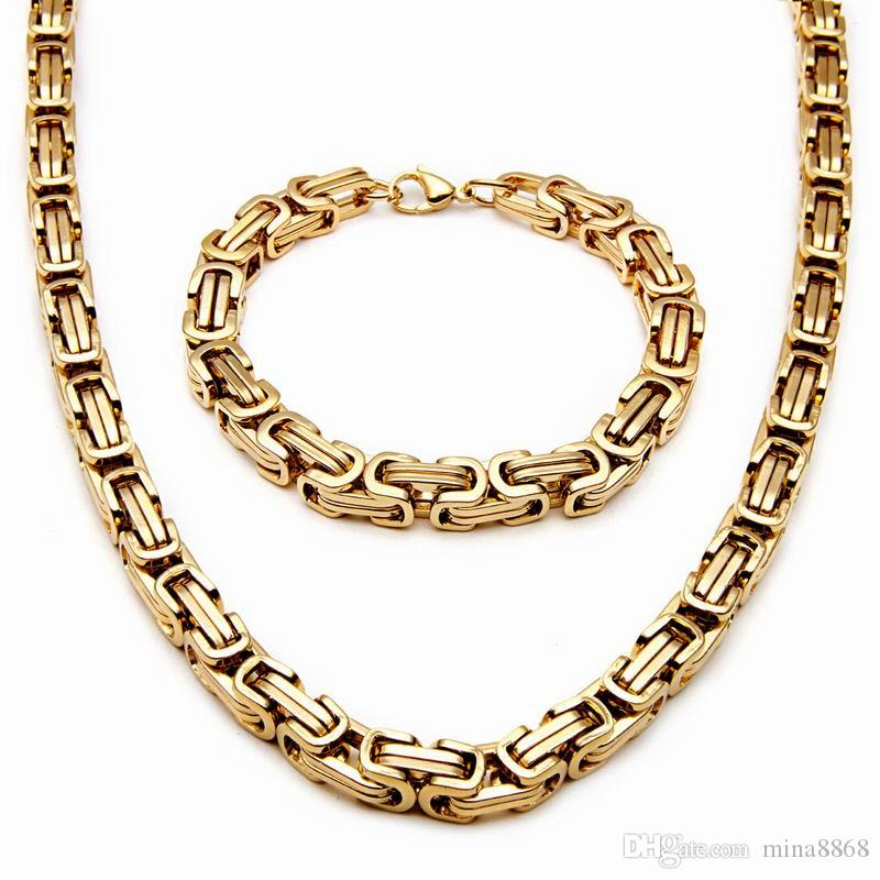 الجملة 8 ملليمتر الفولاذ المقاوم للصدأ رجل قلادة سوار مجموعة البيزنطية سلسلة أسود / فضي / ذهبي اللون 55 سنتيمتر قلادة