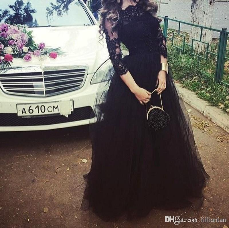 Elegant Long Sleeve Black Formal Lace Party Dresses Bateau Prom Gowns Puffy Skirt Applique Lace Women Occasion Evening Dresses Custom Made